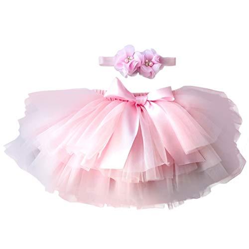 YONKINY Baby Mädchen Tutu Rock Prinzessin Tüllrock Minirock Baby Fotoprops Reifrock Ballettrock für Fotografie Geburtstag, Größen M für 6-12 Monate, Rosa