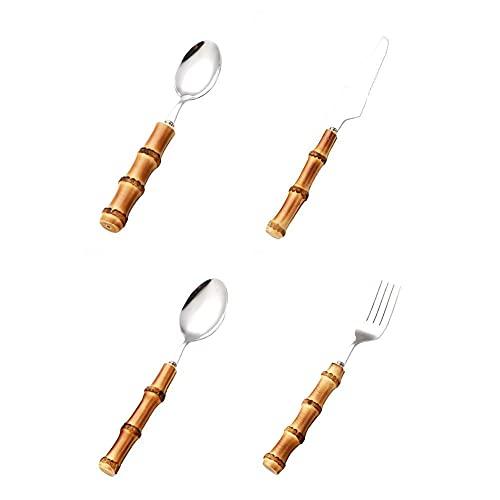 Juego de cucharas reutilizables de acero inoxidable para bebés que incluyen tenedor cuchara cuchillo utensilios para uso diario y fiesta-plata   Juego de 4 piezas
