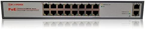 IPCamPower 16 Port POE Network Switch W 2 Gigabit Uplink Ports Designed for IP Cameras POE Capable product image