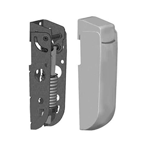 Pack x2 Bisagras con Muelle de 4,5 mm en Acero Cincado para Puerta Superior tipo Arcón o Cofre de congelados | Con embellecedores en poliestireno anti-choque blanco