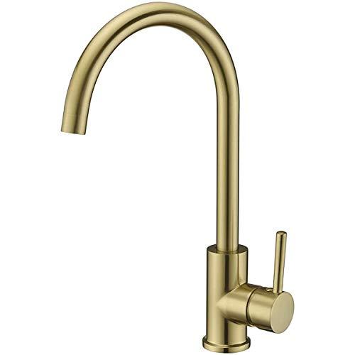 Conjunto de ducha Cocina Grifo Cepillado Oro Cocina Fregadero Grifo Cubierta Montado Alto Arco 360 ° Giratorio Frío y agua caliente Fácil de instalar