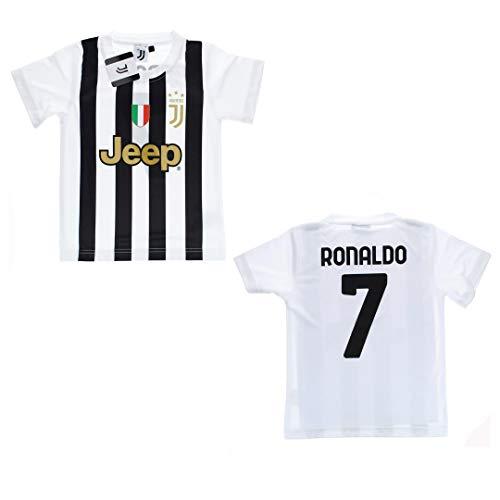 JUVE Juventus Maglia Tifoso Home Stagione 2020/2021 - Numero 7 Ronaldo CR7 - Bambino - Codice Autenticità - Scudetto Sempre Compreso - Scegli la Taglia (Taglia 8 Anni)