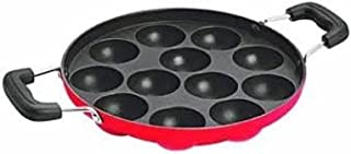 Kuber Industries™ Heavy Weight Non-Stick 12 Cavity Appam Patra Side Handle with lid, Black (Appam10)