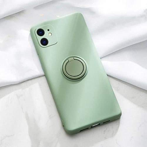 Liquid Silicone Holder Ring Ring all-Inclusive Protective Phone Case, Suitable for phine 6 And Above Models-Matcha Green_iPhone XR