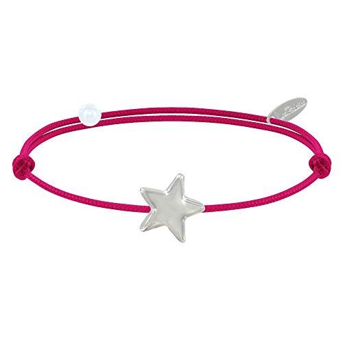 Les Poulettes Bijoux - Bracelet Lien Etoile d'argent - Colors - Fuchsia
