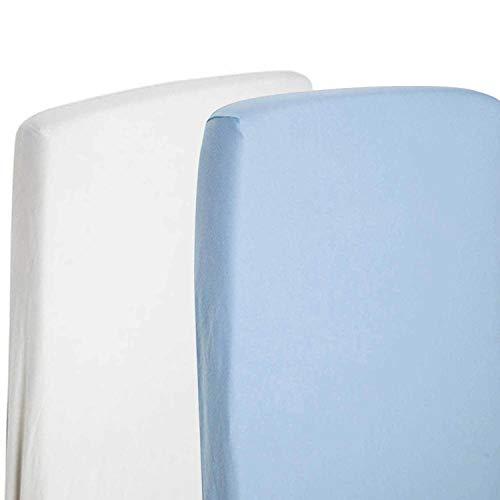 2x für Kinderbett, 100% Baumwoll-Jersey Spannbetttuch, 140x 70cm, weiß & blau