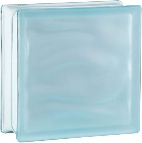 6 piezas BM bloques de vidrio AGUA azul claro satinado por dos lado (vidrio mate) 19x19x8 cm