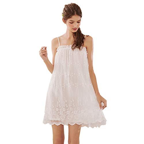 Flaydigo Damen Sexy Negligee Nachthemd Kurz Spitze Nachtkleid Nachtwäsche Unterkleid Trägerkleid, Weiß, EU M/Tag L