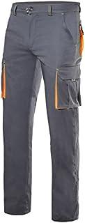 VELILLA 103008S Pantalón Multibolsillos Stretch Bicolor Color Gris/Naranja flúor Talla 36