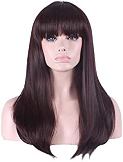 Natural straight bangs Long brown Wavy hair wig fit for all complexion