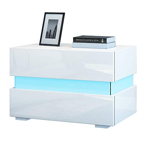 Chest of 2 Drawers Bedside Table Cabinet High Gloss Nightstand Unit RGB LED Light Modern Bedside Cabinet Tables for Bedroom Room 60x39x45cm (White)