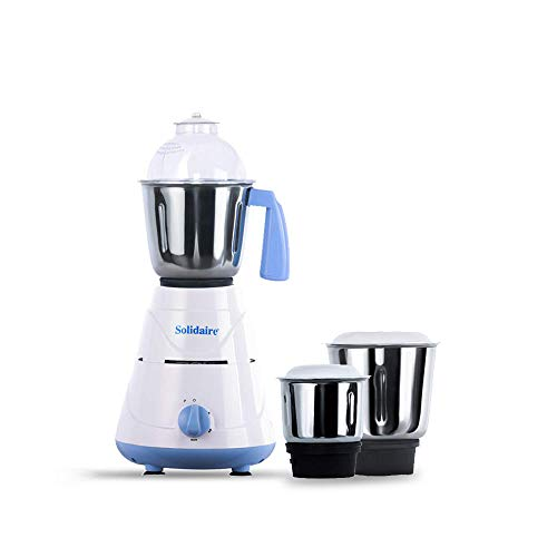 Solidaire 550-Watt Mixer Grinder with 3 Jars (White and Blue)