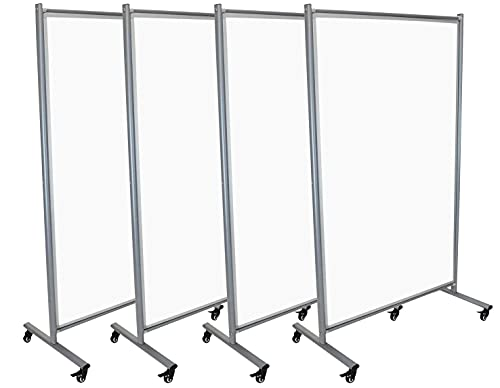 Stand Up Desk Store Rolling Mobile Magnetic Whiteboard Room Divider Dry Erase Board for Home or Classroom (40' W x 72' H, 4-Pack)