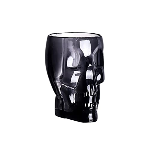 LIXXY - Tazza da birra con scheletro da 85 ml, in materiale plastico acrilico, per cocktail creativo, bicchieri da birra trasparenti per bar, per Halloween, colore: nero