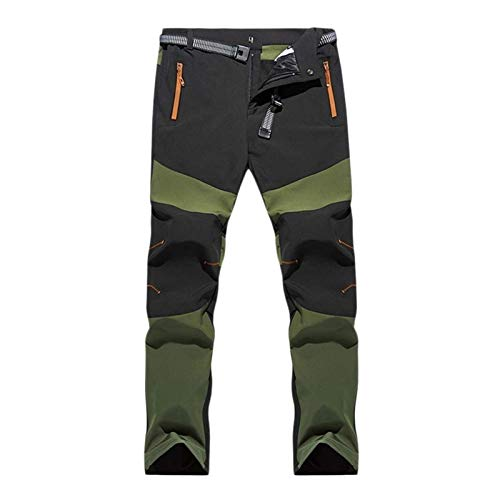 Men's Pants Hiking Cycling Stretch Pants Outdoor Lightweight Breathable Climbing Pants Windproof Thickened Quick Dry Mountain Pants Autumn Winter Spring (Color : Green, Size : 3XL)