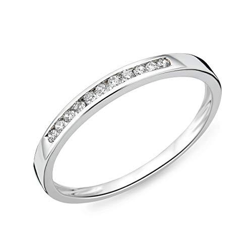 Miore - Anillo para mujer de oro 375 de 9 quilates, diamantes brillantes de 0,10 quilates, oro blanco