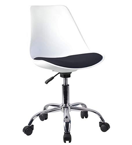 Decohouse Silla giratoria Oficina Escritorio Ordenador, Comoda Altura Regulable Color Blanco Asiento Negro Polipiel