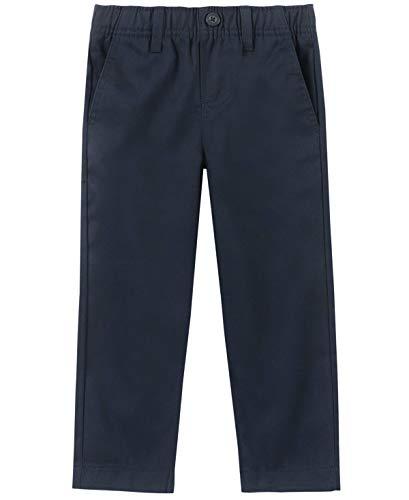 Nautica Boys' Toddler School Uniform Flat Front Twill Pant, Navy/Pull-on, 4T