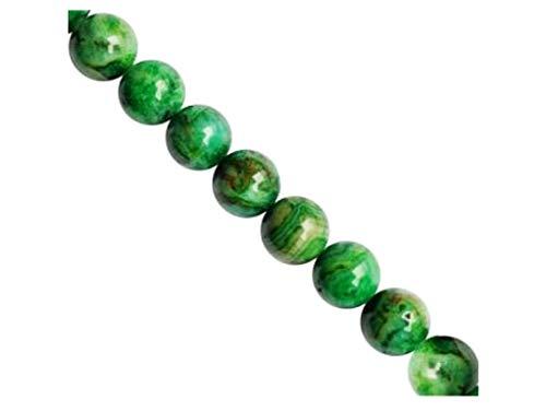 Stone Beads, Redondas de 8mm, 6 uds, Cuentas minerales checas de Natural Ornamentales semipreciosas Piedras con uno Orificio, Lace Agate Green
