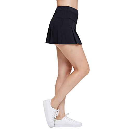 Dee Plus Damen Plissee Tennisrock Sport Skort Rock Kurz Culottes Hosenrock Golf Hose mit Tasche für Frauen Mädchen mit Schweißbänder