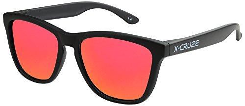 X-CRUZE 9-009 Gafas de sol Nerd polarizadas estilo Retro Vintage Unisex Caballero Dama Hombre Mujer Gafas - negro mate LW/rojo-anaranjado tipo espejo
