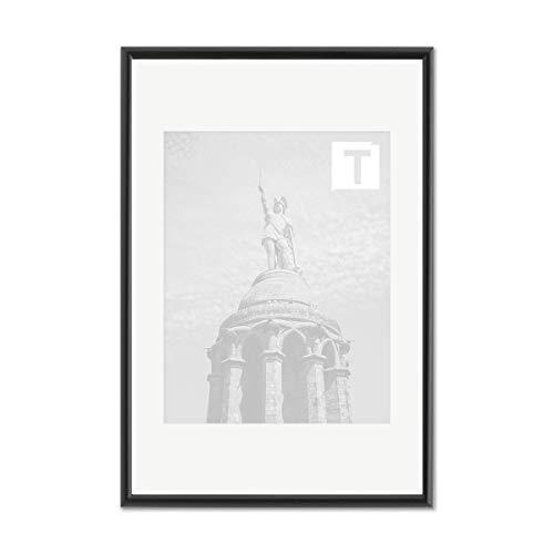 Echtholz-Bilderrahmen Pia Schwarz 10 x 15 cm Museumsglas 2mm rund schmal elegant