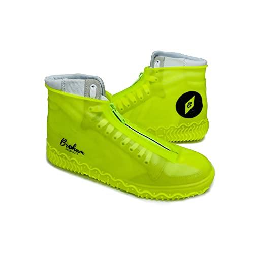 Broham Regenschutz Schuhe - wasserdichte Überschuhe gegen Regen, Schnee & Matsch, Silikon Überschuhe in Neon-Gelb, Schuhüberzieher wasserdicht