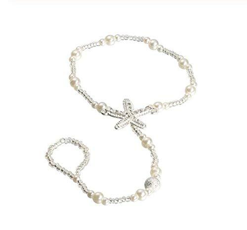 Dos pulseras tobilleras, estrellas de mar, perlas blancas