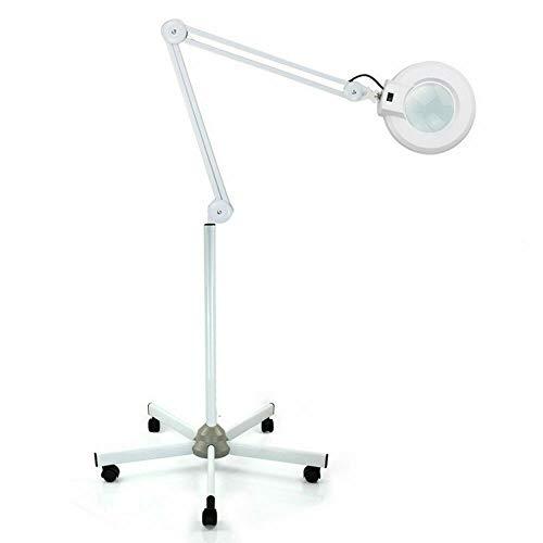 Futchoy - Lámpara de lupa LED con 5 ruedas con soporte móvil, lupa de ampliación para salón de belleza, gabinete médico (8 dioptrias)