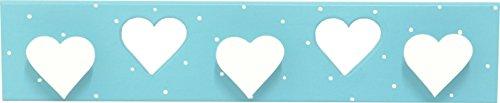 Sonpó Online   Modelo AFA25   Perchero triple infantil de pared Hecho a mano de manera artesanal   Color azul con puntitos blancos