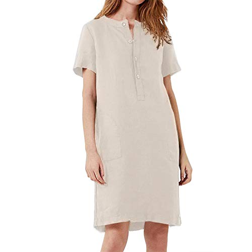 Check Out This Leepus Women Linen Cotton Dress Straight Midi Dress with Button Pockets Short Sleeve ...