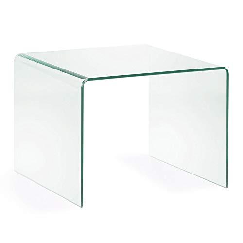 Kave Home - Mesa Auxiliar Burano de Cristal Templado Transparente con Forma Cuadrada 60 x 60 cm