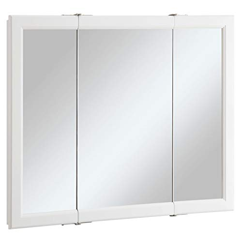 Design House 545103 Wyndham White Semi-Gloss Tri-View Medicine Cabinet Mirror with 3-Doors, 36-Inches Wide by 30-Inches Tall by 4.75-Inches Deep
