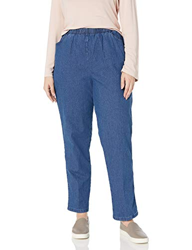 Chic Classic Collection Women's Size Plus Cotton Pull-On Pant with Elastic Waist, Mid Shade Denim, 20W