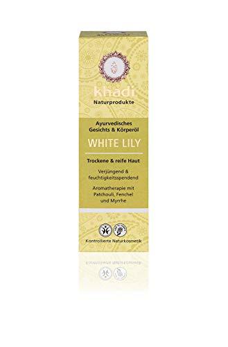 khadi White Lily Körperöl 100ml I natürliches Gesichts & Körperöl für trockene & reife Haut I wirkt verjüngend & feuchtigkeitsspendend I ayurvedisches Massageöl I 100% pflanzlich