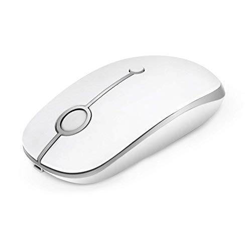 Preisvergleich Produktbild Kabellose Maus,  Jelly Comb 2.4G Wiederaufladbarer Maus Schnurlos Wireless Optische Maus mit USB Nano Empfänger für PC / Tablet / Laptop und Windows / Mac / Linux (Wiederaufladbar-Weiß und Silber)