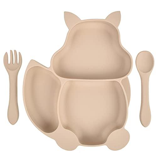 Goodvk Juego de Vajilla para Niños Bebé Placa tazón Cuchara Conjunto Silicona Utensilios de Cocina succión para niños vajilla de Silicona Compartimento Platos Fácil de Usar para los Niños
