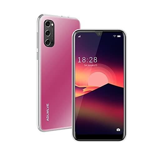 Teléfono Móvil Libres 4G, Android 9.0 Smartphone Libre, 6.3' HD+Water-Drop Screen, 3GB + 32GB, Cámara 8MP, Batería 4600mAh, Smartphone Barato Dual SIM, Face ID Moviles Baratos y Buenos (Rosa)