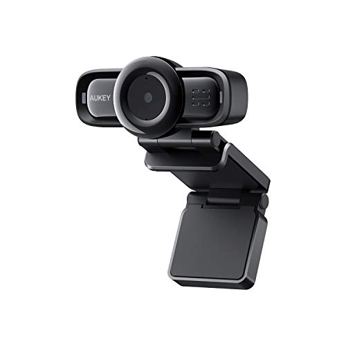 AUKEY Webcam 1080P Full HD, Autofocus e Microfoni con Riduzione del Rumore, Telecamera PC per Video Chat e Registrazione, Compatibile con Windows, Mac