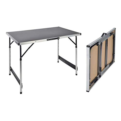 Haushalt International - Mesa Plegable para Acampada (Altura Regulable, 100 x 60 x 73-94 cm)