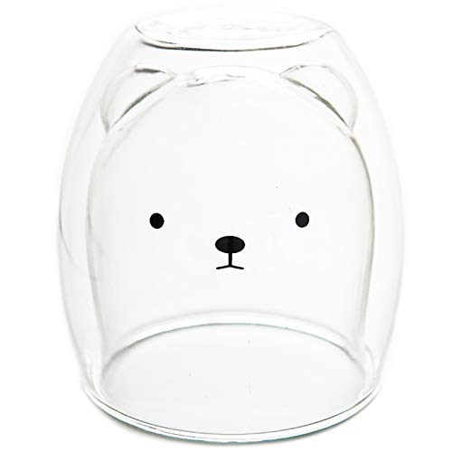 Baalaa Taza de café de doble capa de vidrio y taza lindo animal vaso hecho a mano taza línea chica oso