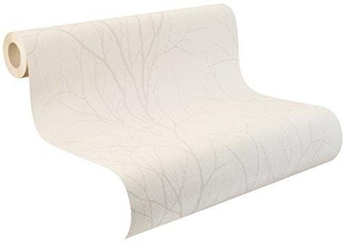 rasch Vlies-Tapete, Struktur, Baum, Äste, Off-White, grau, 455915, Beige, Weiß
