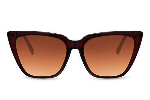 Cheapass Gafas de sol Sunglasses Wide Ojo de Gato Trendy Marrón transparente Estilo para mujer con lentes marrones Gradien Templos dorados con purpurina y protección UV400