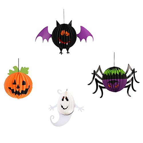 Artibetter 4 Piezas Colgantes de Decoraciones de Halloween de Papel Murciélago Fantasma Araña Calabaza Colgante Festival Decoraciones Colgantes Escenas de Halloween Decoraciones de Halloween