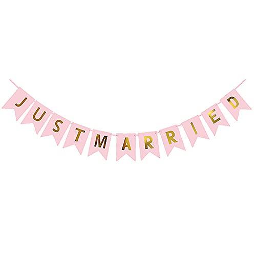 Aloces Just Married - Pancarta rosa fresca para decoración de boda, banderines vintage, decoración para bodas, fiestas, despedidas de soltera, decoración de fotos, coche, fotomatón