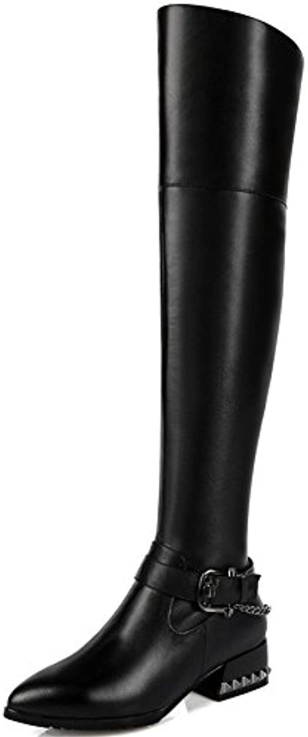 Nine Seven Genuine Leather Women's Pointed Toe Chunky Heel Zip Over The Knee Mortorcycle Handmade Riding Boot Black