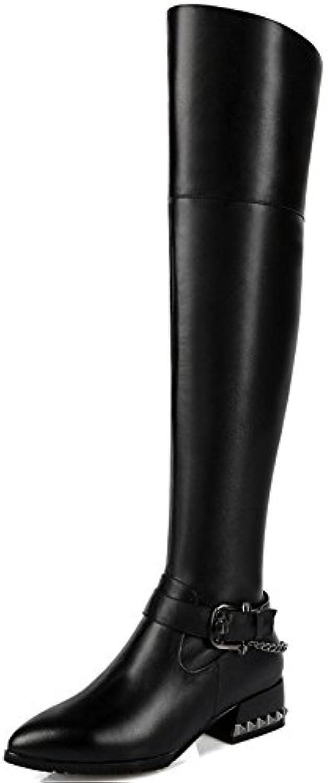 Nio Sju genuina läder Kvinnors spetsiga spetsiga spetsiga tå Chunky Heel Zip Över knä Mortorcycle Handgjort Riding Boot svart  wholesape billig