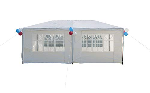GOJOOASIS Improved Version Canopy Tent Wedding Party Tent with Metal Connectors Outdoor Gazebo White 10' x 20' with 6 Walls