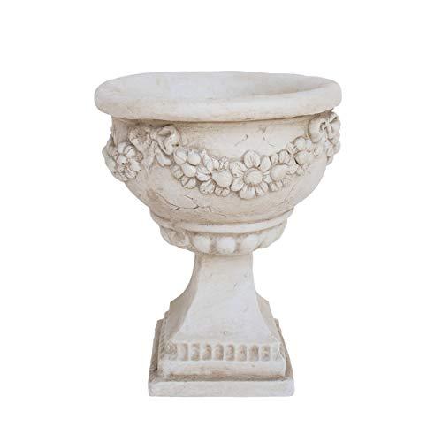 Great Deal Furniture Nina Chalice Garden Urn Planter, Roman, Botanical, Antique White Lightweight Concrete