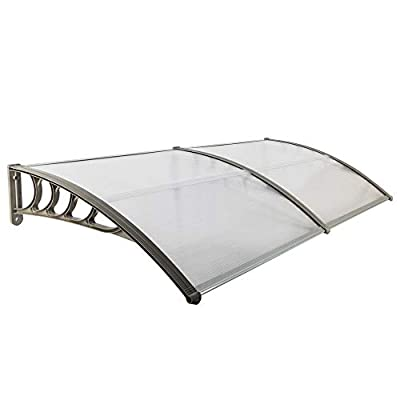 """Simply-Me 40"""" x 80"""" Door Window Awning Polycarbonate Cover Front Door Outdoor Patio Awning Canopy UV Rain Snow Protection Hollow Sheet (Silver & Gray Bracket)"""